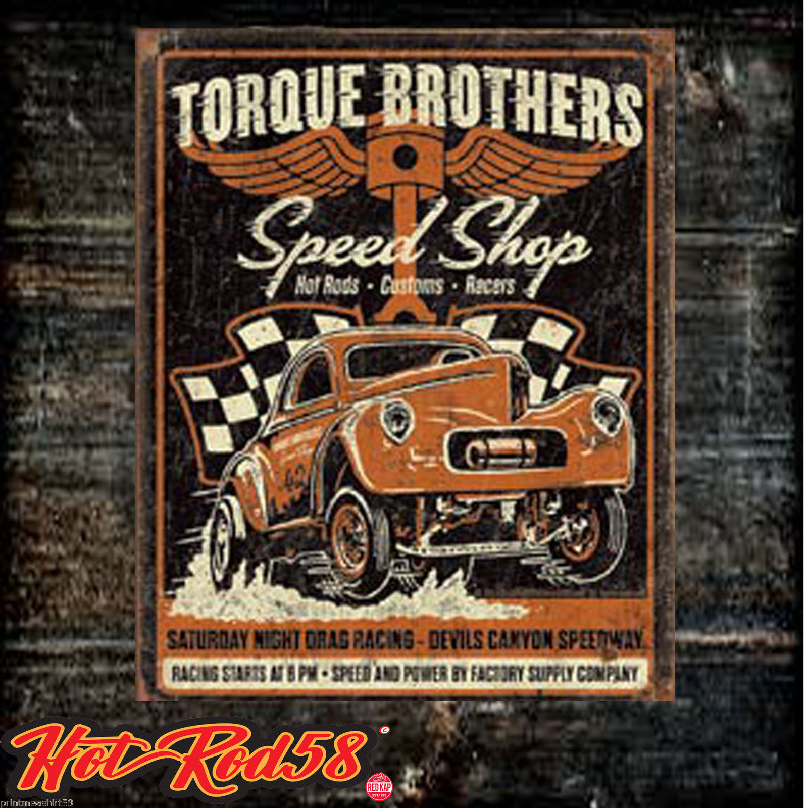 Metal Tin Wall Signs Hot Rod Torque Brothers Garage Vintage Car ...