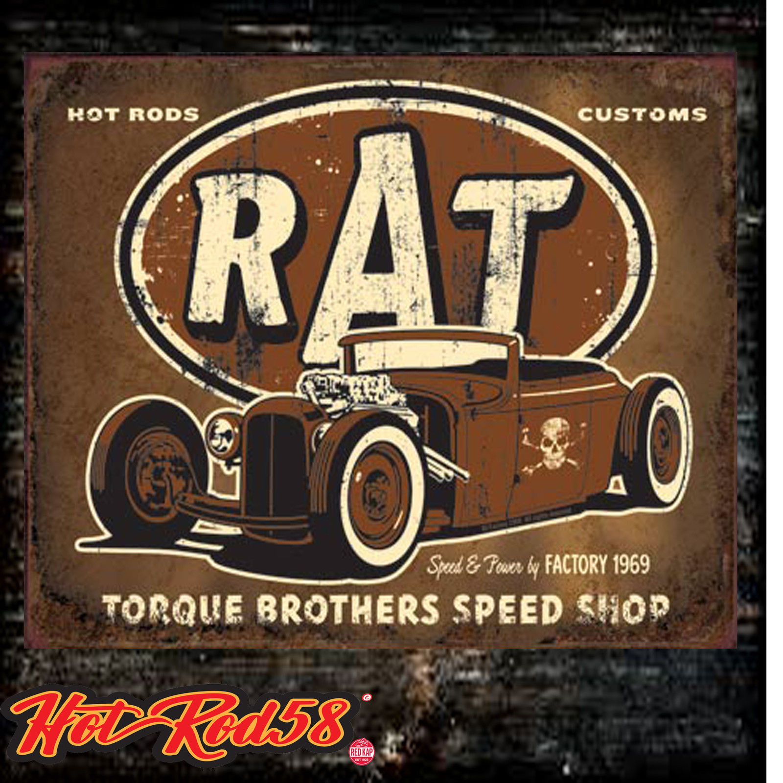 Hotrod Metal Tin Wall Sign Plaque Rat Rod Garage American Vintage Classic Car