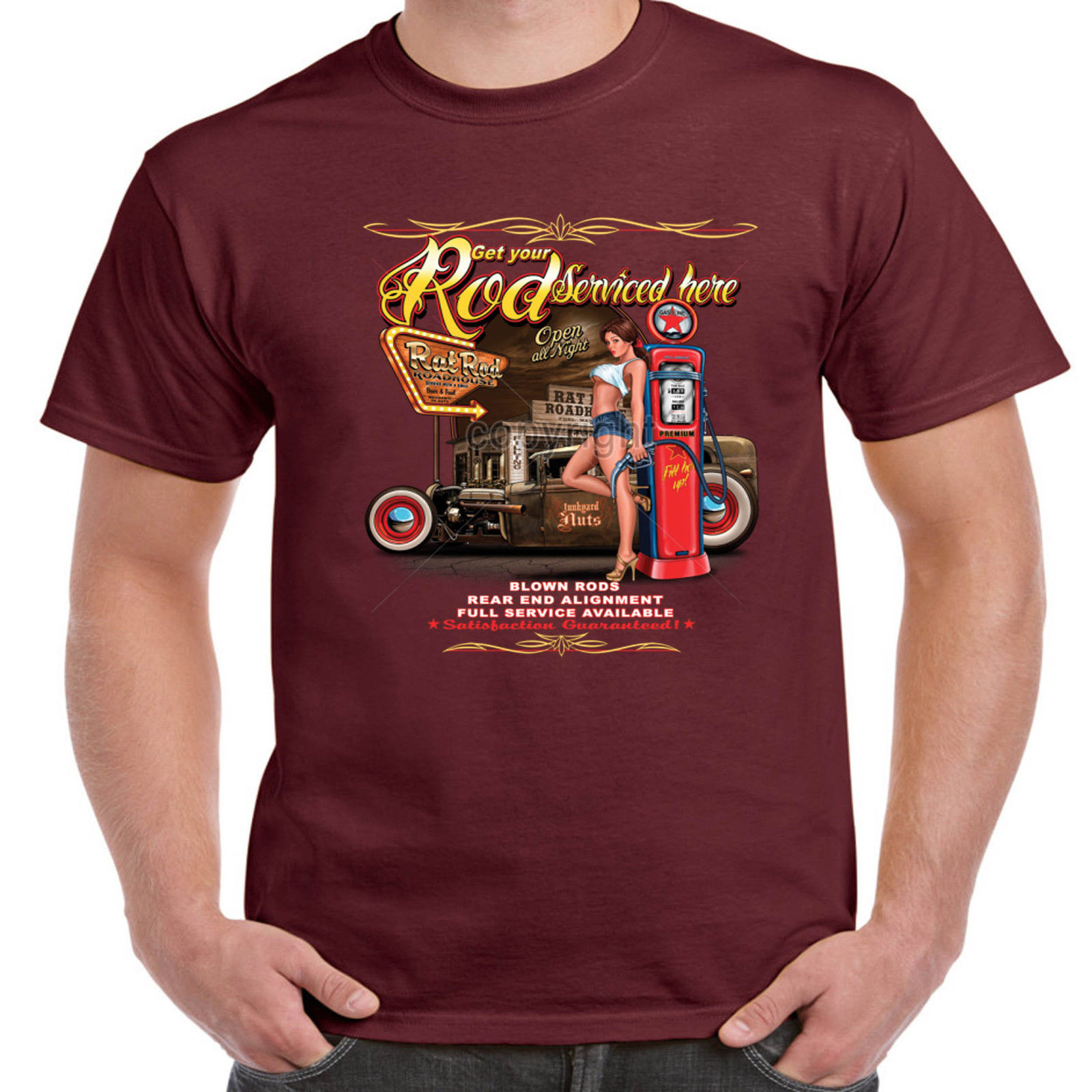 d60e71c9d Hot rod 58 Clothing Men's Rockabilly T Shirt Rod Serviced Here Garage  American V8 Custom Vintage Classic Car 51
