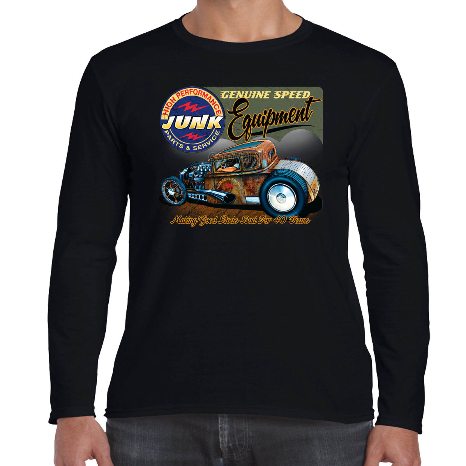 a28101b3d Mens Hotrod 58 Long Sleeve T Shirt Junk Garage Vintage V8 Rat Rod Custom Car  30