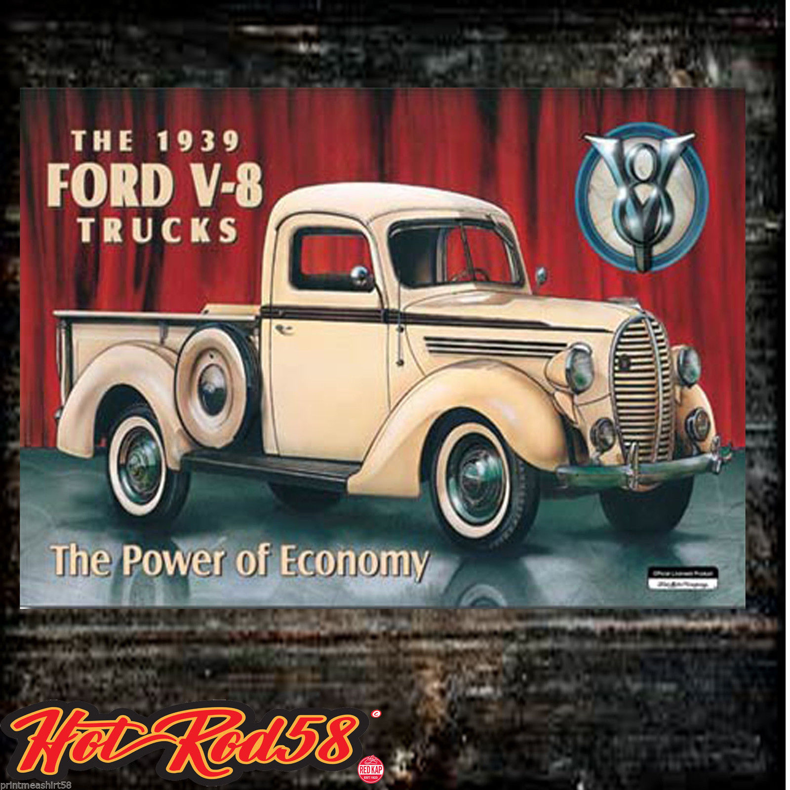 Ford liceneced metal sign archives hot rod 58 for American classics garage