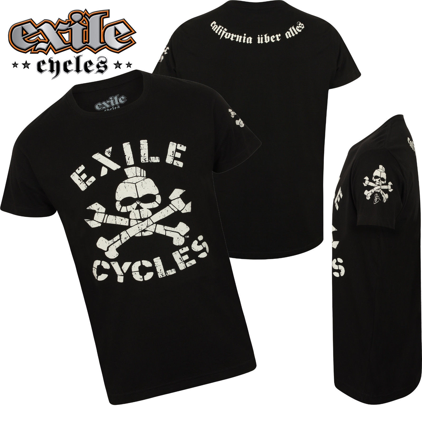 Mens exile biker t shirt genuine custom motorcycle chopper for Custom suits and shirts