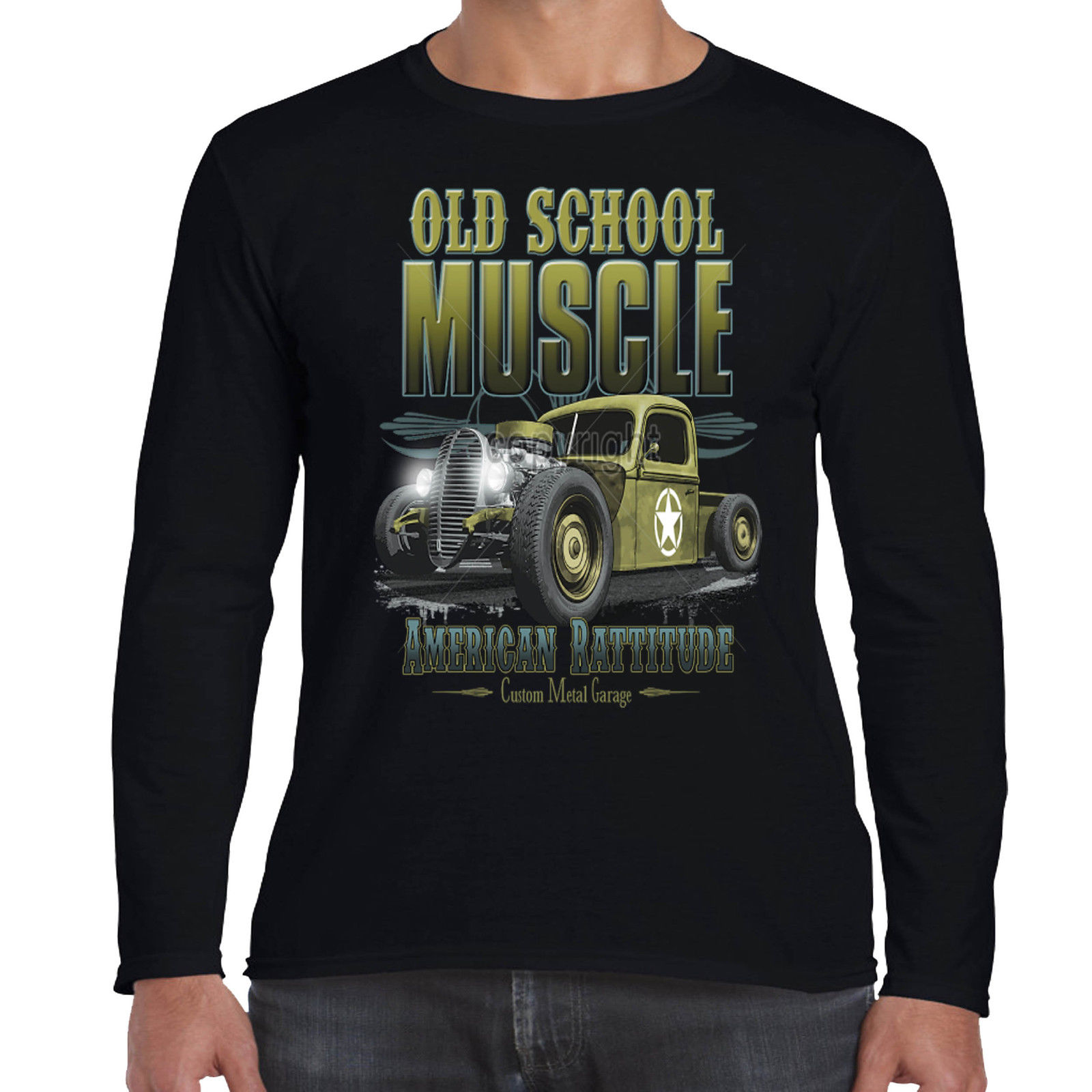 Mens hotrod 58 long sleeve t shirt old skool american for All american classic shirt