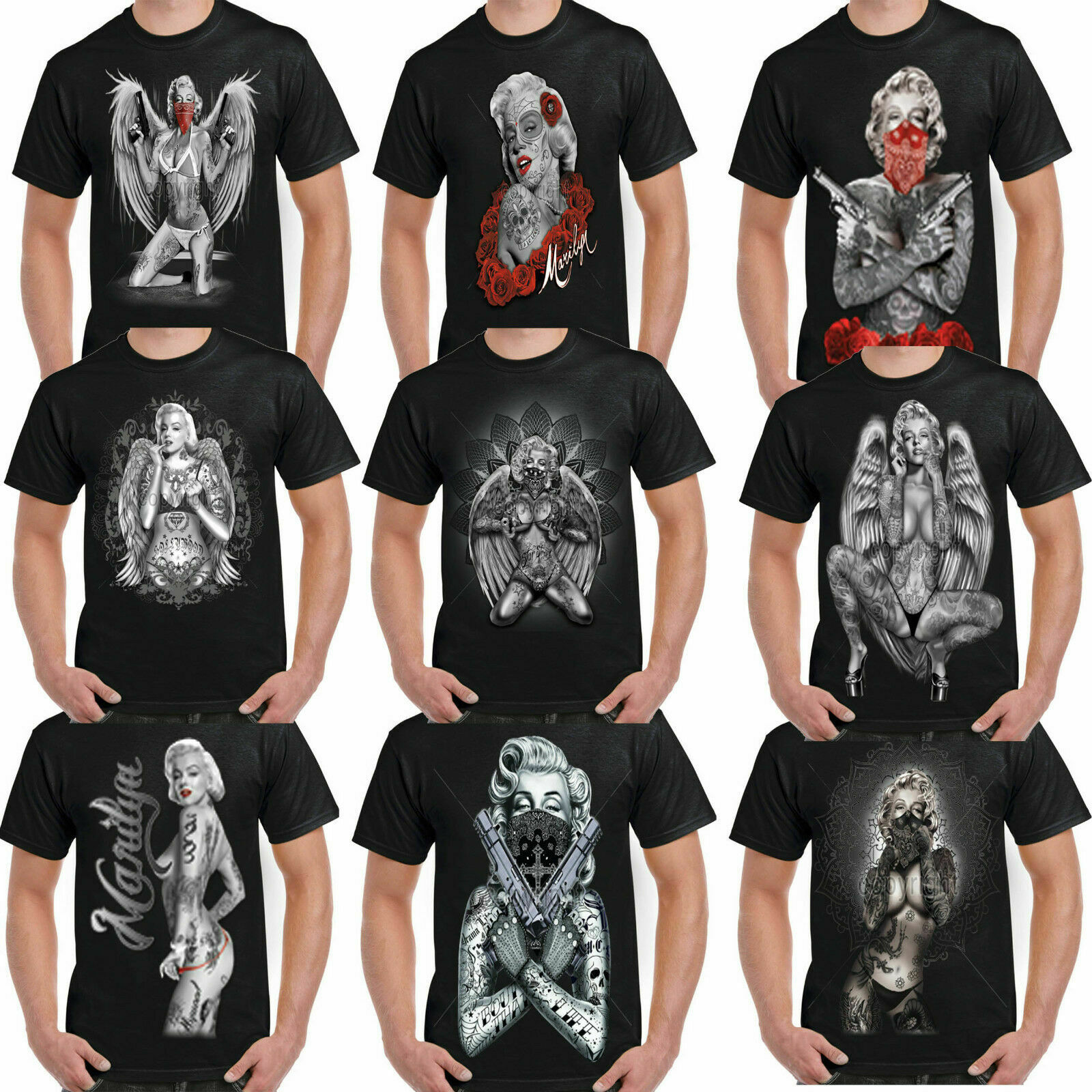 Mens Marilyn Monroe T Shirt Outlaw Classic Pop Art Icon Tattoo Gangster Shirts