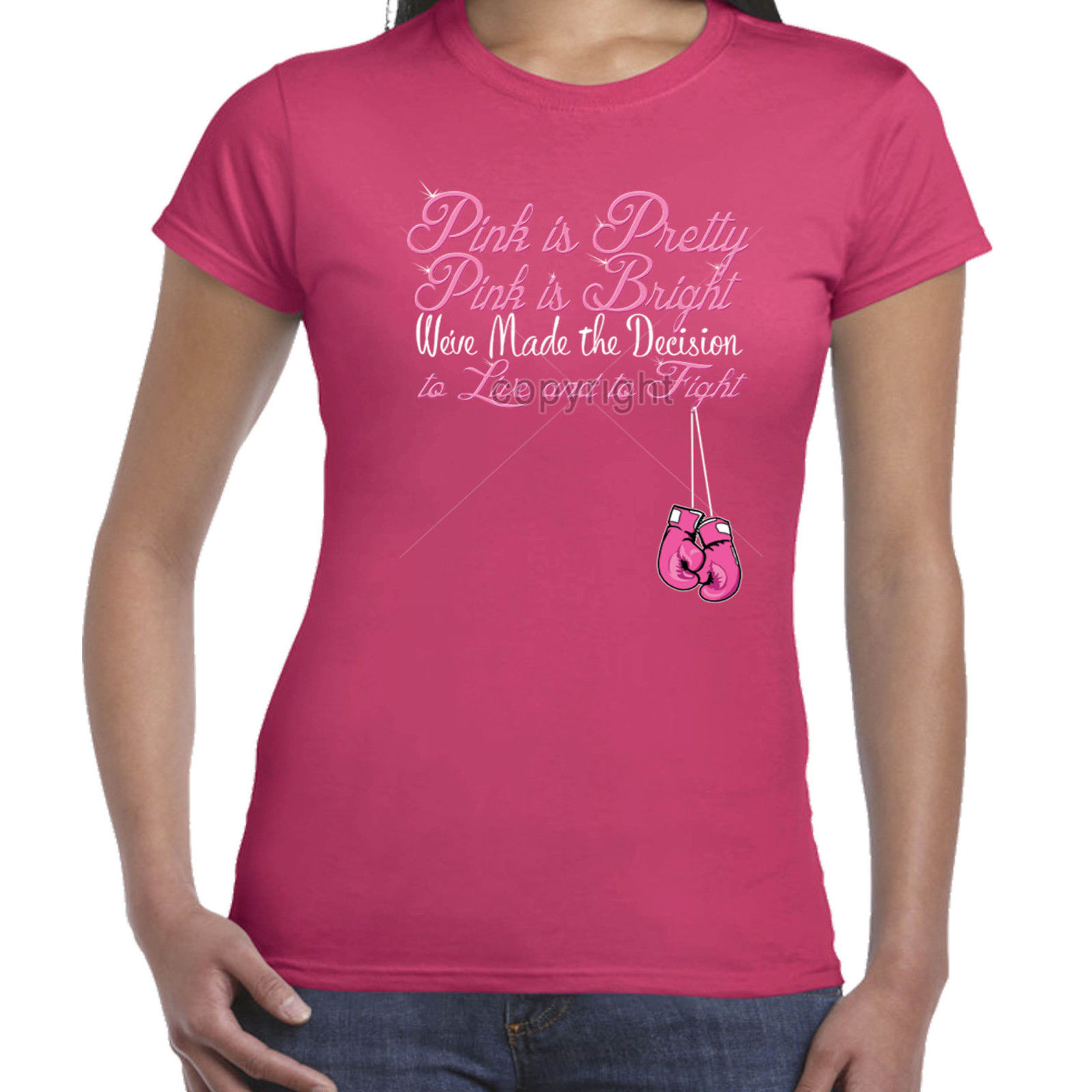 76c77f21c02 Ladies T shirt Womens Breast Cancer Awareness I wear Pink Ribbon Charity