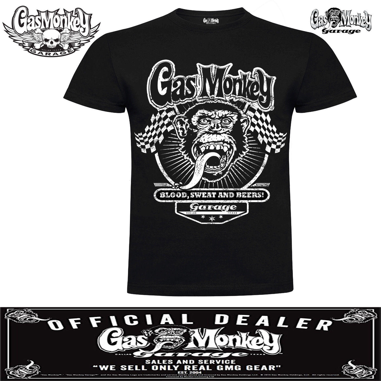 New Mens Official Licensed Gas Monkey Muscle Car T-Shirt