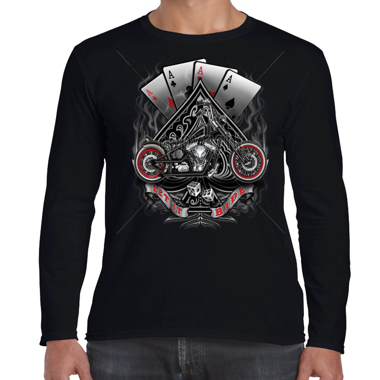 104aca90af5 Men's Biker Long Sleeve T shirt Aces Vintage Classic Bike Motorbike  Clothing 01 | Hot Rod 58