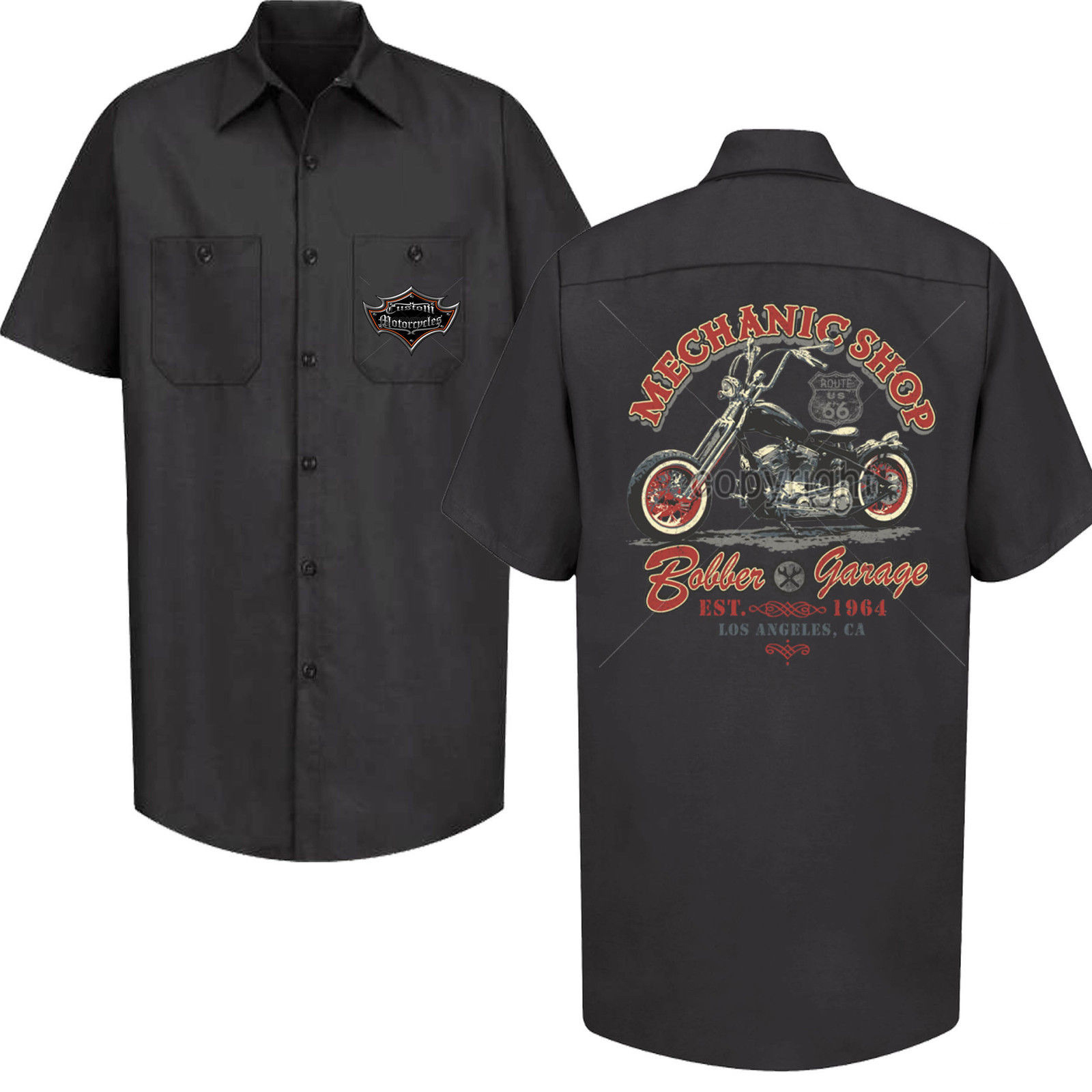 Mechanic shop red kap garage work shirt biker motorbike for Red kap mechanic shirts
