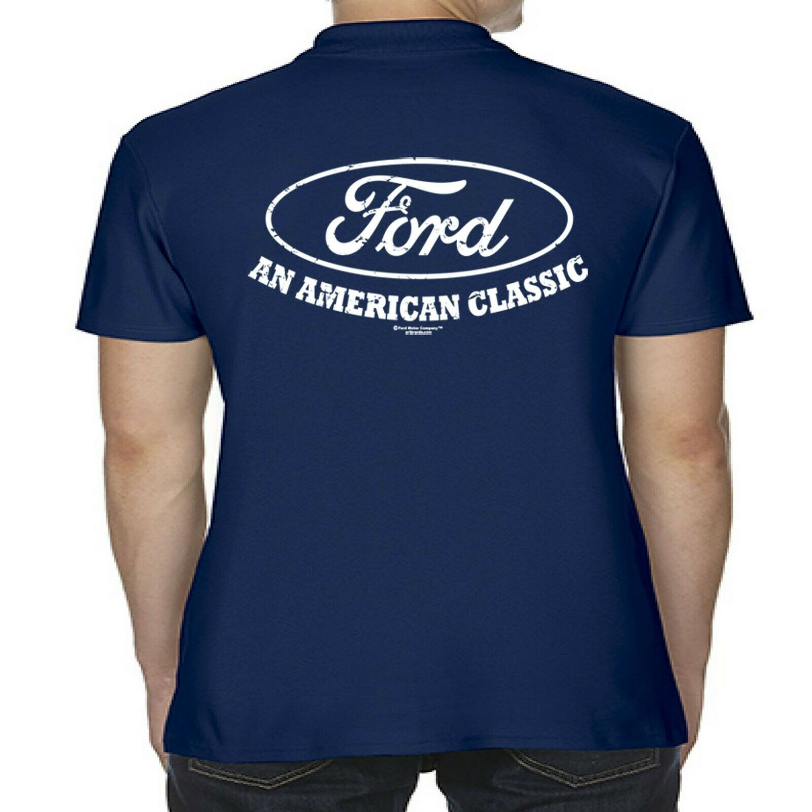 Mens Licensed Ford Polo Shirt American Classic Vintage